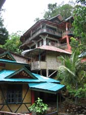 Looking up to the rooms at Jungle Inn Bukit Lawang